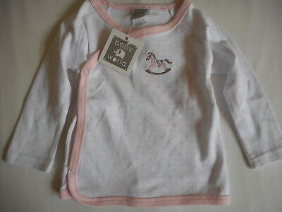 New Baby World Sweet Dreams Rocking Horse Embroidery Wrap Top Sz 0 6-12 Months