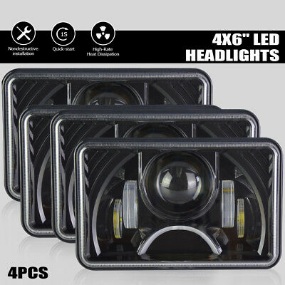 """DOT Approved IP67 4x6"""" 4Pcs Led Clear Rectangular Headlight for H4651 H4652 4652"""