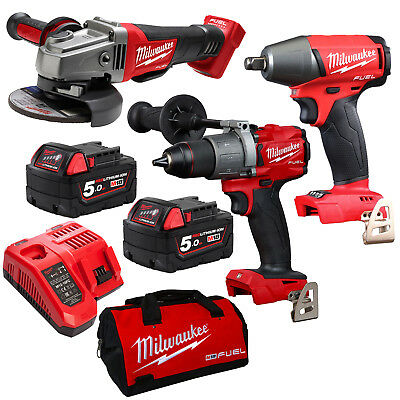 Milwaukee 18V Fuel M18 GEN 3 Brushless 5ah Battery 3 piece Combo Kit - AU STOCK