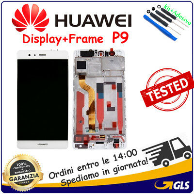 DISPLAY LCD +TOUCH VETRO +FRAME BIANCO per HUAWEI P9 EVAL-09 schermo original