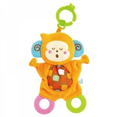 Bebee Monkey Take Along Snuggle Teether Plush Toy with Baby Gum Soother Rings
