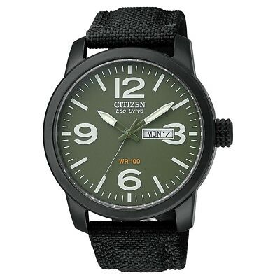 Citizen BM8475-00X Eco-Drive Military Green Dial Day Date Analog Men's Watch