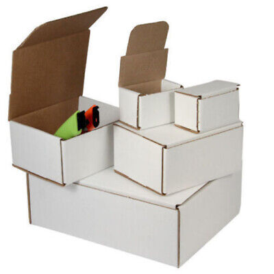 200 - 6 x 4 x 1 White Corrugated Shipping Mailer Packing Box Boxes
