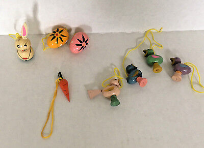 vintage little wood Easter tree ornament lot hanging eggs carrot bunny birds