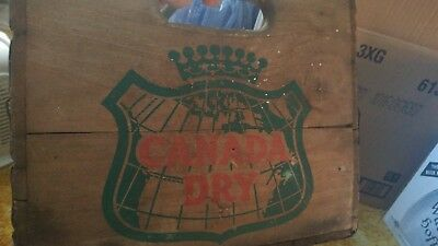 vintage Canada Dry wood crate box 1961 d-6-61 soda bottle carrier