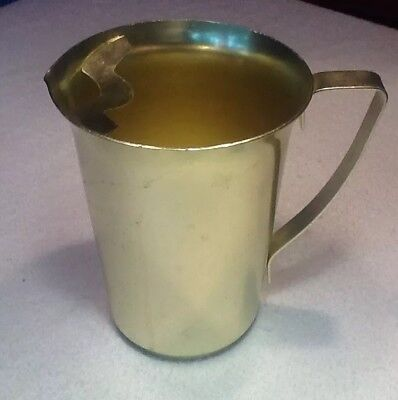 RETRO MID CENTURY MODERN ALUMINUM PITCHER GOLD ICE LIP 60s VINTAGE
