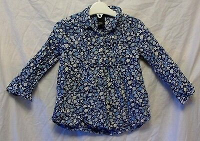 Baby Girls H&M Blue White Ditsy Floral Long Sleeve Shirt Blouse Age 18-24 Months