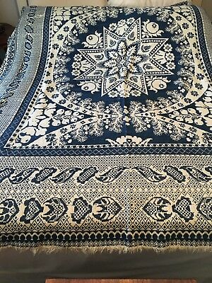 Antique Coverlet signed No date New Berlin Ohio woven jacquard 72x72 Appro.