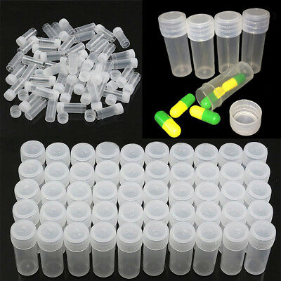 20X 5ml Plastic Sample Mini Small Vial Bottle Test Tube Lab Storage Containers