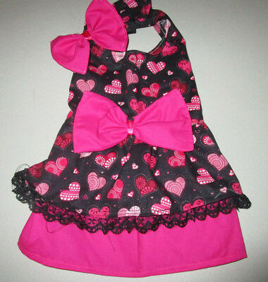 S female Dog dress [hearts,pink] cotton handmade