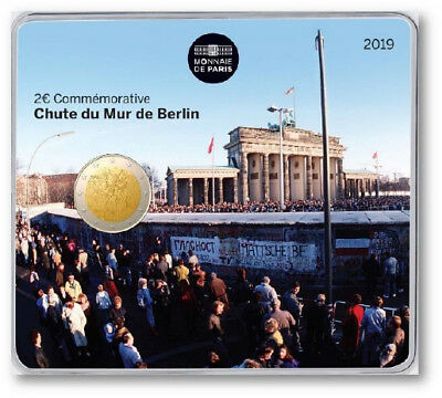 "2 euro commemorative france 2019 BU - ""chute du mur de berlin"" - coincard bliste"