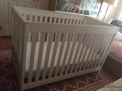 Baby's White Crib  With Mattress For Sale