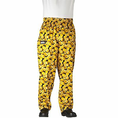 New Chefwear  Men's Ultimate 100% Cotton Baggy Chef Pants Yellow Lemons XS-5XL