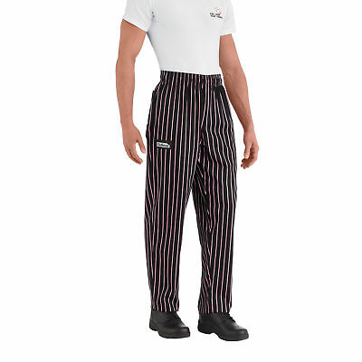 New Chefwear Men's 100% Cotton Baggy Chef Pants Black with Pink Stripes XS-5XL