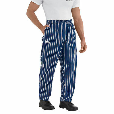 New Chefwear Men's 100% Cotton Baggy Chef Pants Blue with White stripes S-5XL