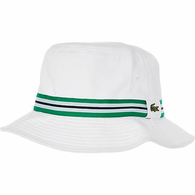 LACOSTE MEN S WHITE Logo Bucket Hat - Size Large - EUR 49 e0f653909457
