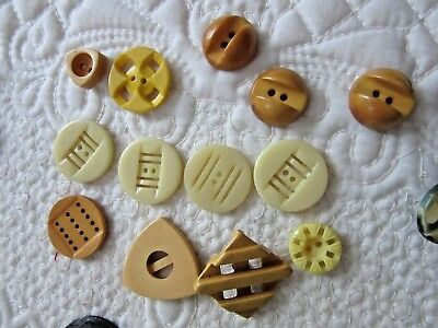 13 Mixed Yellow/Gold Buttons, Some Bakelite
