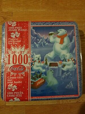 New factory sealed Coca-Cola 1,000 piece Polar Bear Puzzle Tin 1998 Vintage