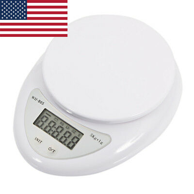 Home Kitchen 5kg Electronic Scale Digital Vegetables Food Weighing Scales White
