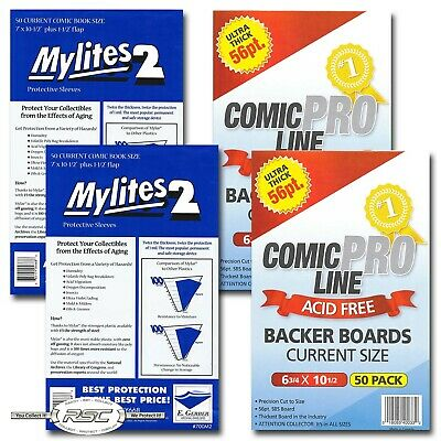 100 - E. Gerber Mylites 2 Current Mylar Bags & Comic Pro Line Current Boards