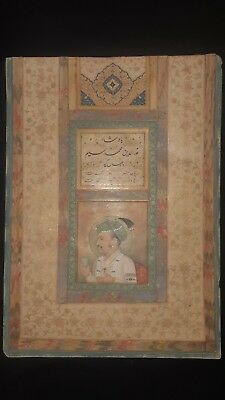 Antique original stone colour mughal miniature painting of Emperor Jehangeer