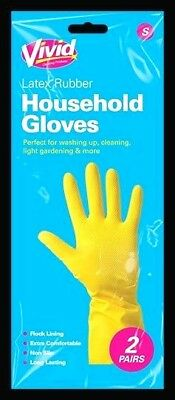 2 Pairs Household Rubber Gloves Latex Washing Kitchen Dishes Cleaning Gardening