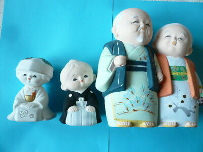 "Japanese Clay / Pottery Figures > 4"" & 7 1/2"" High"