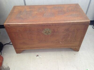 Vintage Carved Camphor Wood Chest Blanket Box with Brass Fittings VGC