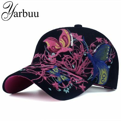 AKIZON Baseball Cap For Women With Butterflies And Flowers Embroidery Adjustable