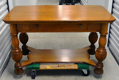 "Library Table - Ouartersawn Oak - Reeded Legs - 28"" Wide x 48"" Long x 28"" High"