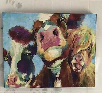 Rare Medium cow painting on canvas Lively Colors
