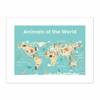 Animals Of The World Map  Print Canvas Premium Wall Decor Poster
