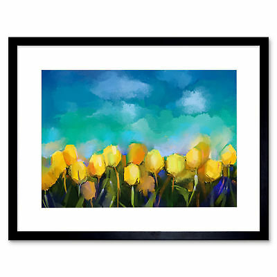 Flower Yellow Tulips Painting Art Print Framed Poster Wall Decor