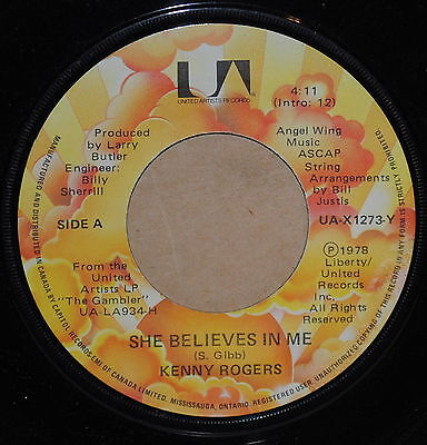 Kenny Rogers She Believes In Me / Morgana Jones 1978 Country 45 on UA
