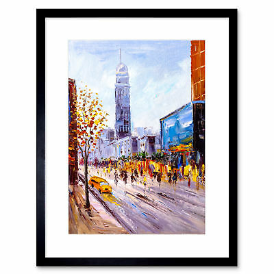 New York Cityscape Painting Art Print Framed Poster Wall Decor