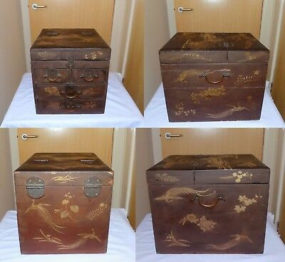 Antique Japanese Meiji Taka-maki-e Lacquer Chest Drawers Campaign Sewing Cabinet