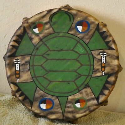 Sacred Turtle / Native American Drum,Painted By Lakota Artist Sonja Holy Eagle