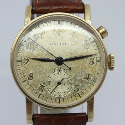 VINTAGE 1940's Longines 31mm 1 Button 10k GF Mens Chronograph Watch 12.68Z Swiss