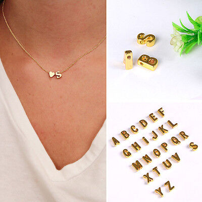 A-Z Gold Stainless Steel 26 INITIAL LETTER Pendant Necklace Men Chain Women US