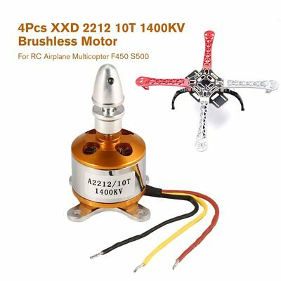 4Pcs XXD 2212 10T 1400KV Brushless Motor for RC Airplane Multicopter F450 S500A: