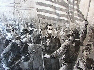 Abraham Lincoln 1864 Civil War American Flag large old print wood engraved