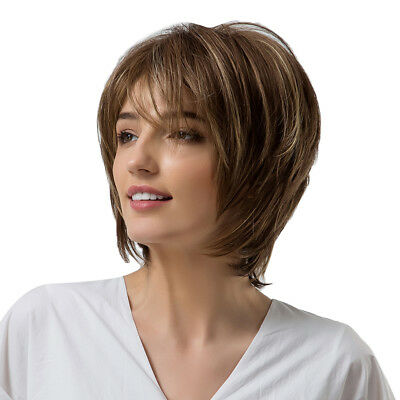 Women Pixie Short Layered Straight Synthetic Full Wig Brown Mixed Blonde
