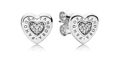 Genuine PANDORA Sterling Silver Logo Heart Stud Earrings - 297382CZ