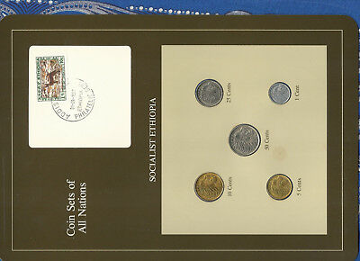 Coin Sets of All Nations Ethiopia wcard 50,25,10,5,1 cents 1977 UNC Fox