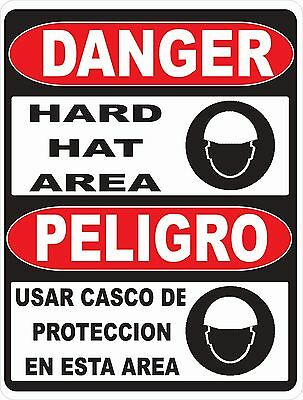 Danger Bilingual Hard Hat Area Sign.Size Options. Work Safety Casco Proteccion