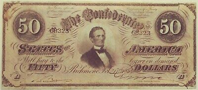 T-66 1864 Confederate States of America 50 Dollar Bill Free Shipping