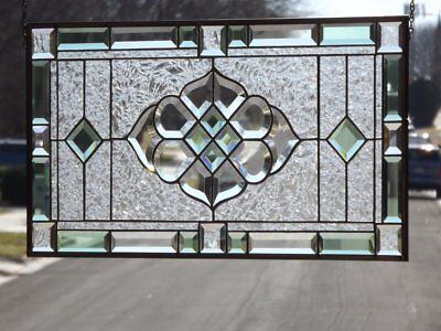 """•Tranquil Green • -Beveled Stained Glass Window Panel • 27 3/8"""" x14 3/8"""""""