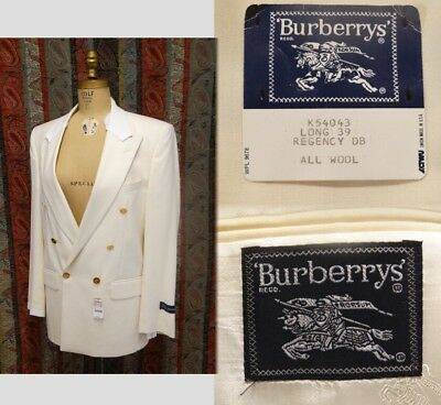 NOS Men's Burberrys Blazer Jacket Ivory White Wool Double Breasted Size 39 L