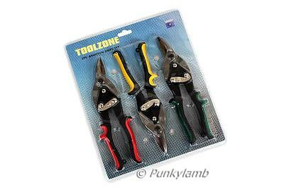 3pc Aviation Tin Snips Metal Sheet Cutter Snip Tool Set Left Right Straight Cut
