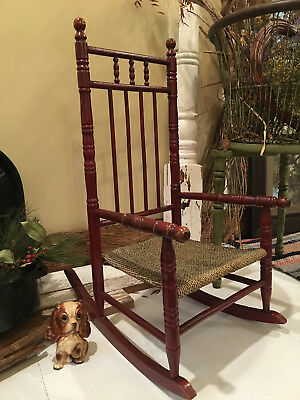 BEAUTIFUL Vintage CHILD'S Wood Wooden ROCKING CHAIR Maple w/ Cherry Finish